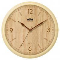Světle hnědé nástěnné plastové hodiny imitující dřevo. II. jakost -drobné oděrky.0443