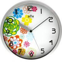 Stříbrné plastové hodiny s motivem jara..0216