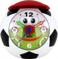 Usměvavý dětský budík tvar fotbalový míč s červenou čepicí a zesilujícím alarmem..0541