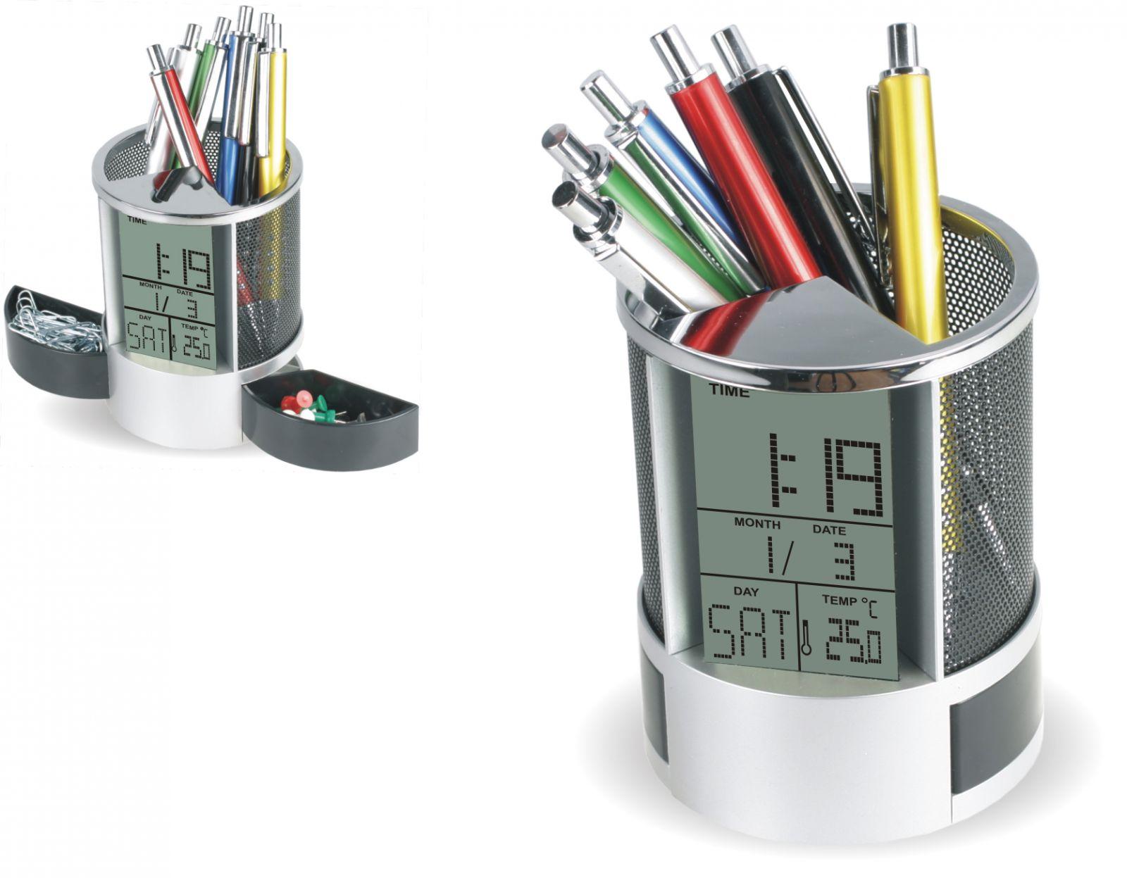 Digitální budík jako stojan na tužky s nastavením datumu a vnitřním těploměrem..0551