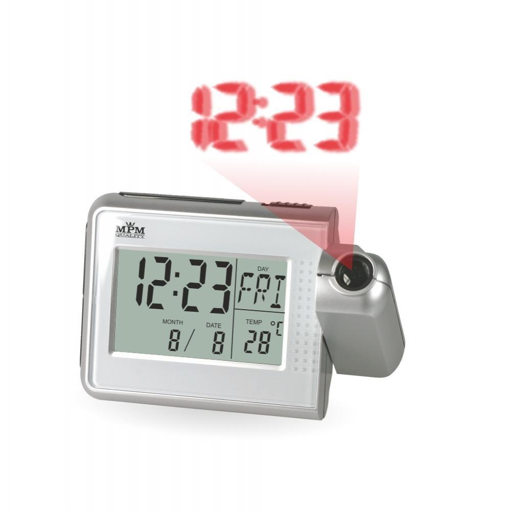 Stolní digitální budík s projektorem času a teploměrem..0534 70 - stříbrná