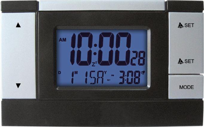Elegantní digitální budík řízený rádiem, velký displej s funkcí SNOOZE..0479 3070 - modrá
