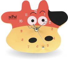 Krásné dřevěné nástěnné hodiny pro děti ve tvaru kravičky..0546
