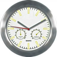 Moderní kovové hodiny s teploměrem a ukazatelem vlhkosti..0615