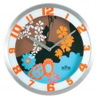 Kovové nástěnné hodiny s barevným dekorem..0606