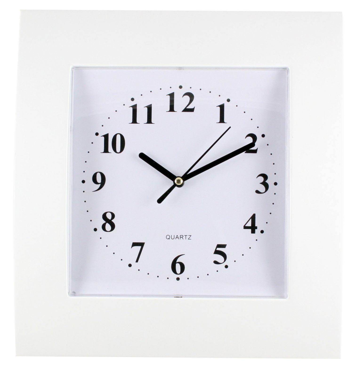 Hranaté nástěnné hodiny v jednoduchém designu..0532 00 - bílá
