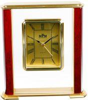 Luxusní stolní hodiny s prvky kovu, dřeva a plastu..0517