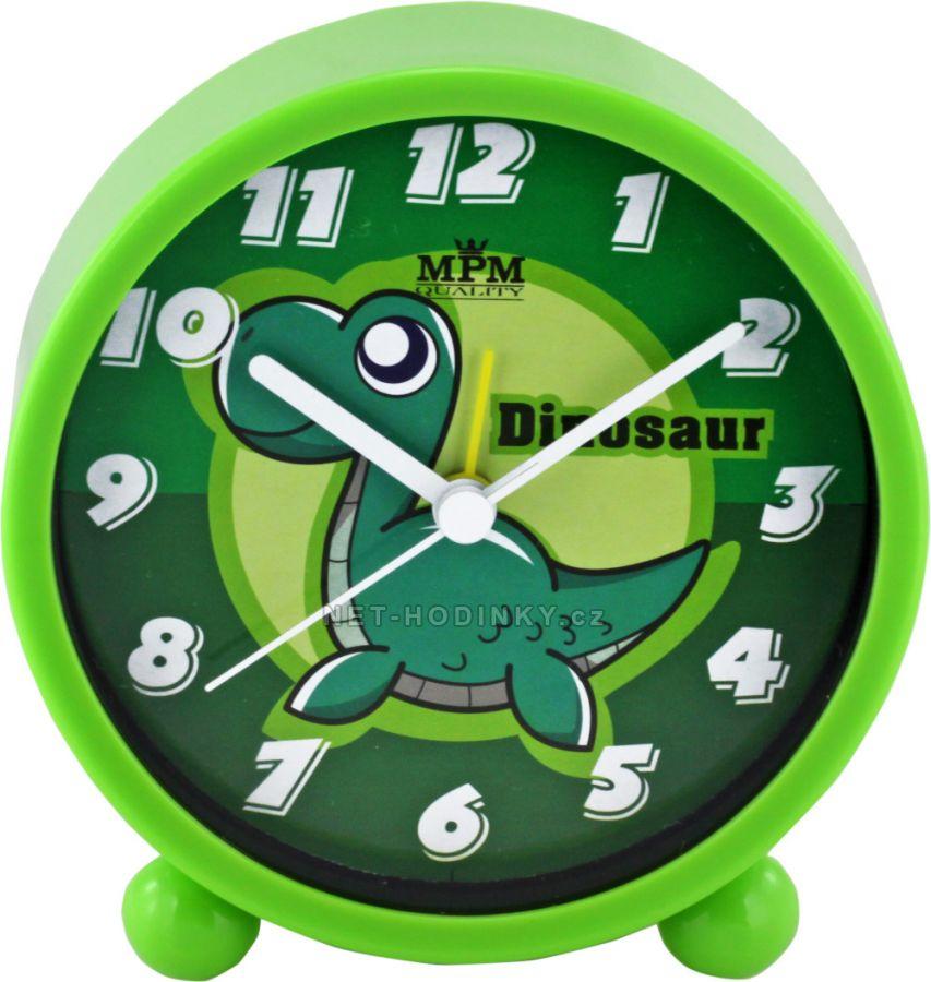 dětské budíky budík s tichým chodem zelená dinosaurus