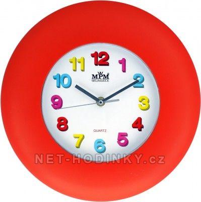 Hodiny na zeď, na stěnu nástěnné hodiny pro děti červená