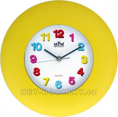 Hodiny na zeď, na stěnu nástěnné hodiny pro děti žlutá