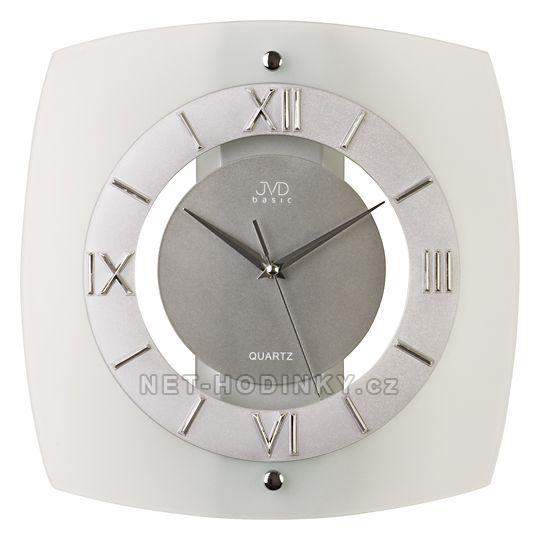 JVD Nástěnné hodiny N13.1, N13 - Analogové bateriové skleněné nástěnné hodiny na zeď N 13