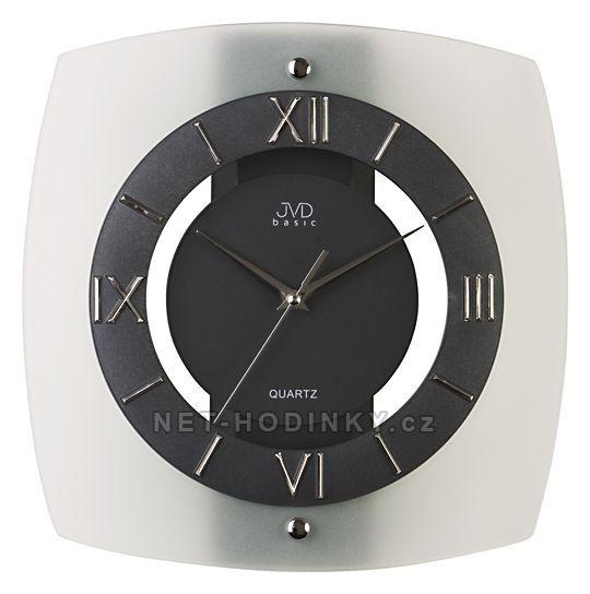 JVD Nástěnné hodiny N13.1, N13 - Analogové bateriové skleněné nástěnné hodiny na zeď N 13.1