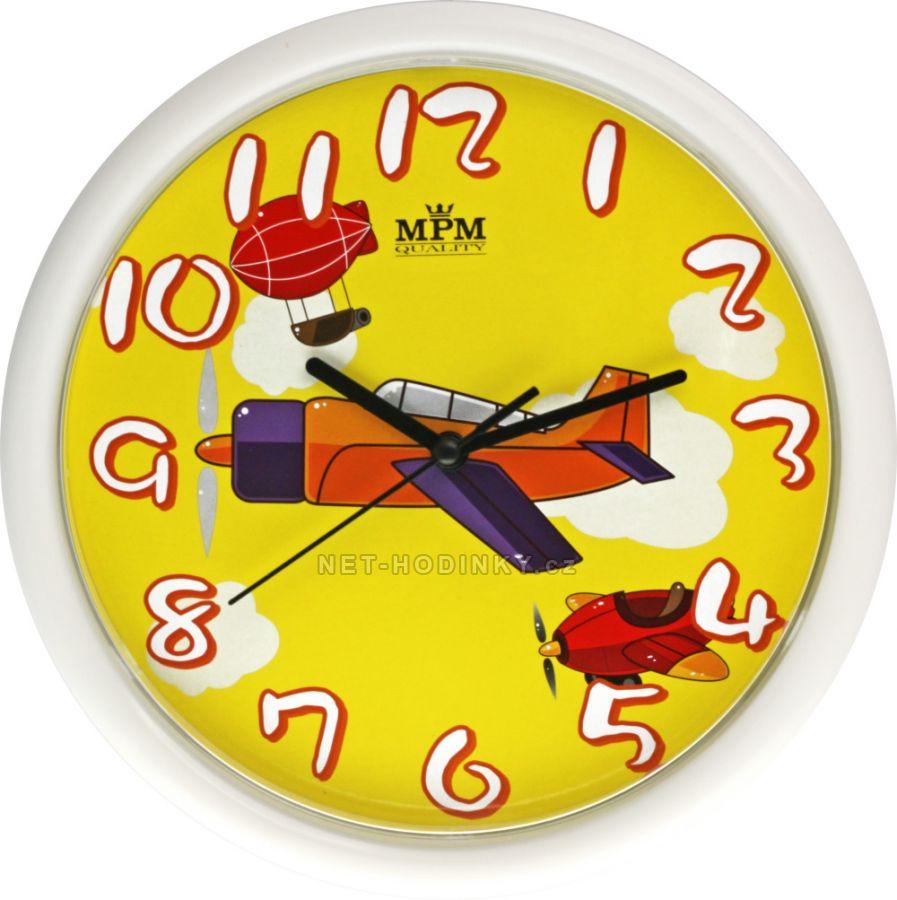 Nástěnné hodiny na stěnu, dětské nástěnné hodiny na zeď SWEEP dětské hodiny žluté letadlo
