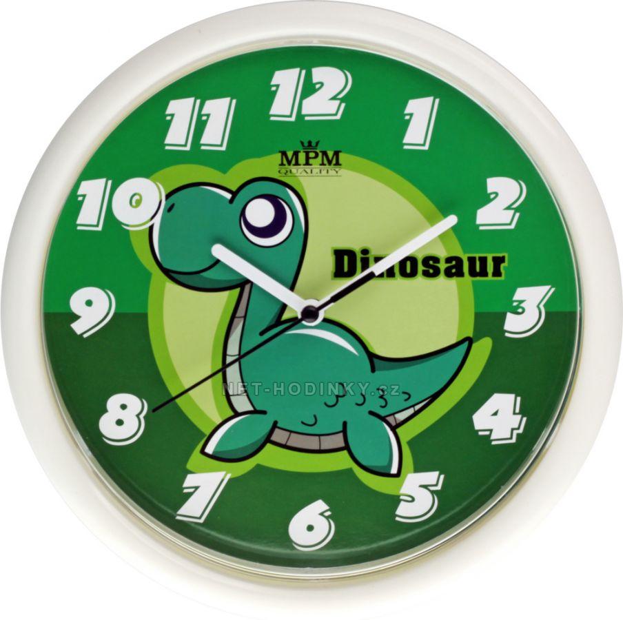 Nástěnné hodiny na stěnu, dětské nástěnné hodiny na zeď SWEEP dětské hodiny zelené dinosaur