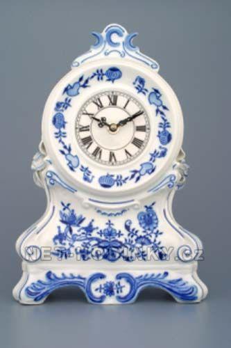 Porcelán Dubí stolní hodiny quartz, krbové hodiny cibulák český porcelán