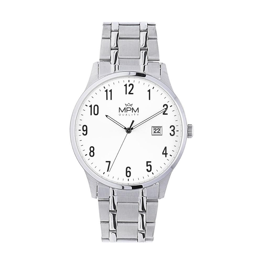 Klasické pánské nerezové hodinky MPM na nerezovém tahu..01360 A.Q01A0090A7070.20