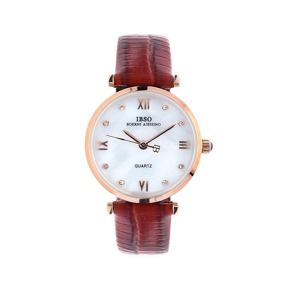 Elegantní dámské hodinky s perleťovým ciferníkem zdobeným kamínky..01479