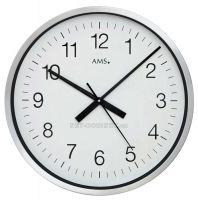 Nástěnné hodiny kulaté velké rádiem řízené stříbrná ams 5949