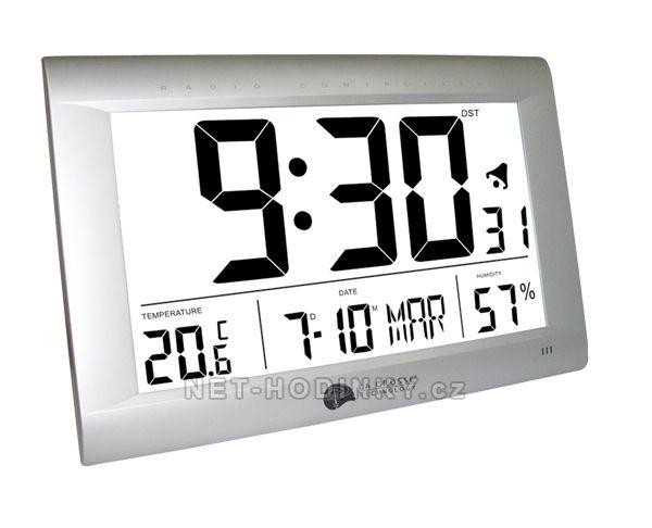 La Crosse Technology Nástěné hodiny s DCF + teploměr + budík + kalendář až do roku 2069 obdelníkové hodiny