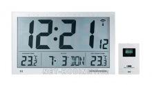 Digitální nástěnné hodiny průmyslové DCF na stěnu s teploměrem a čidlem