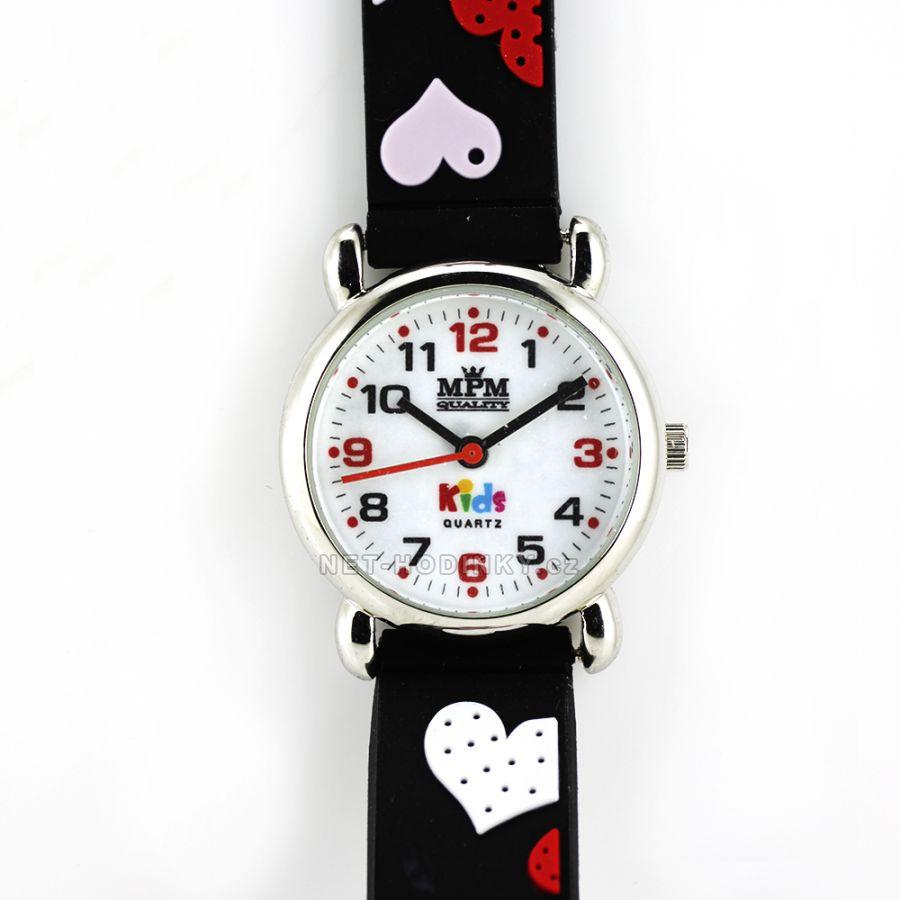 Náramkové dětské hodinky pro kluky a holky, dívčí hodinky chlapecké hodinky černá bílé srdíčko 2