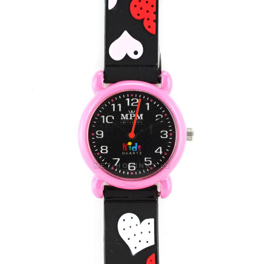 Náramkové dětské hodinky pro kluky a holky, dívčí hodinky chlapecké hodinky černá růžová