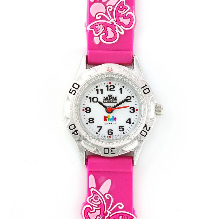 Náramkové dětské hodinky pro kluky a holky, dívčí hodinky chlapecké hodinky růžová motýlek