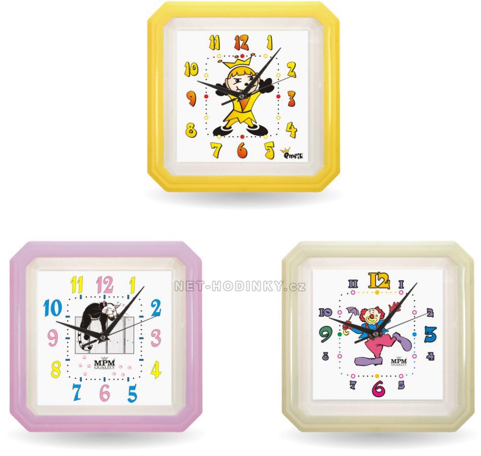 Nástěnné hodiny dětské E01.2418.12, plastové hodiny na zeď