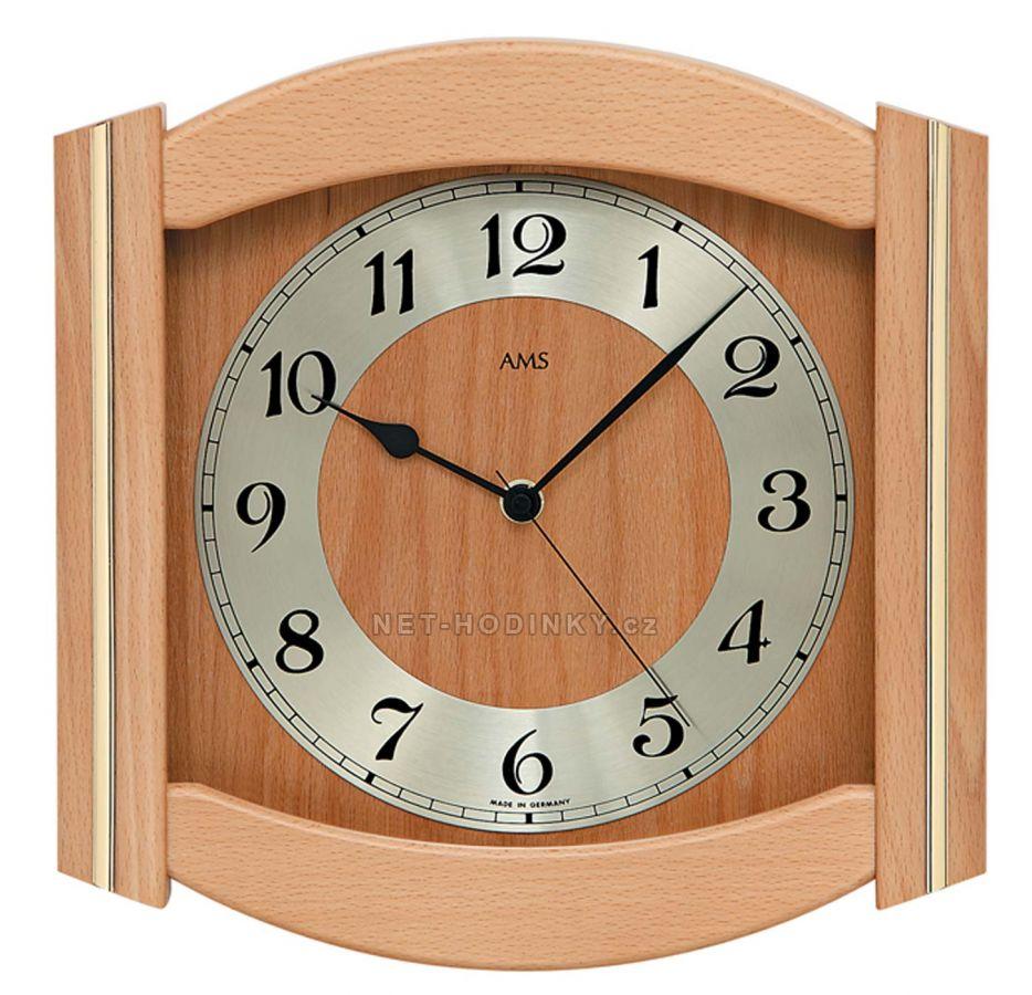 Nástěnné hodiny dřevěné AMS 5822/1 ořech, AMS 5822/4 dub, AMS 5822/18 buk AMS 5822/18 buk