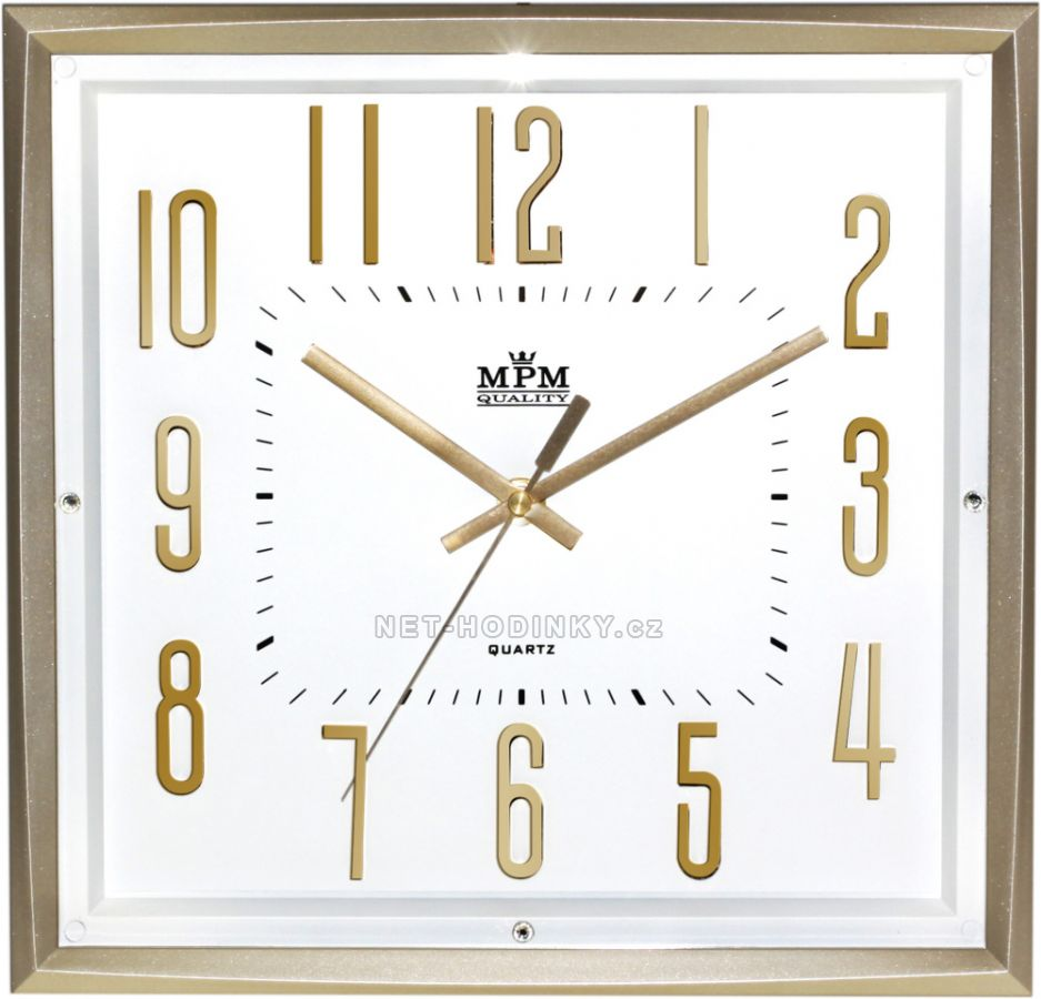 Nástěnné hodiny na stěnu, hodiny na zeď do kuchyně velké zlatá/bílá