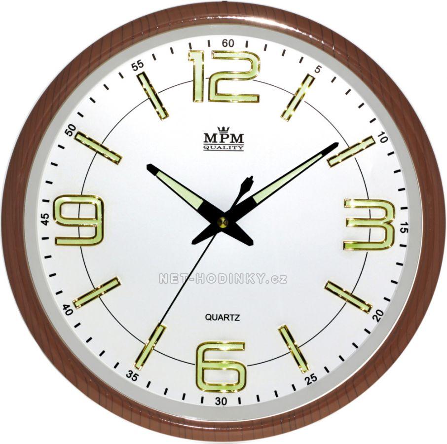 Nástěnné hodiny na stěnu, hodiny na zeď do kuchyně velké kulaté hnědá