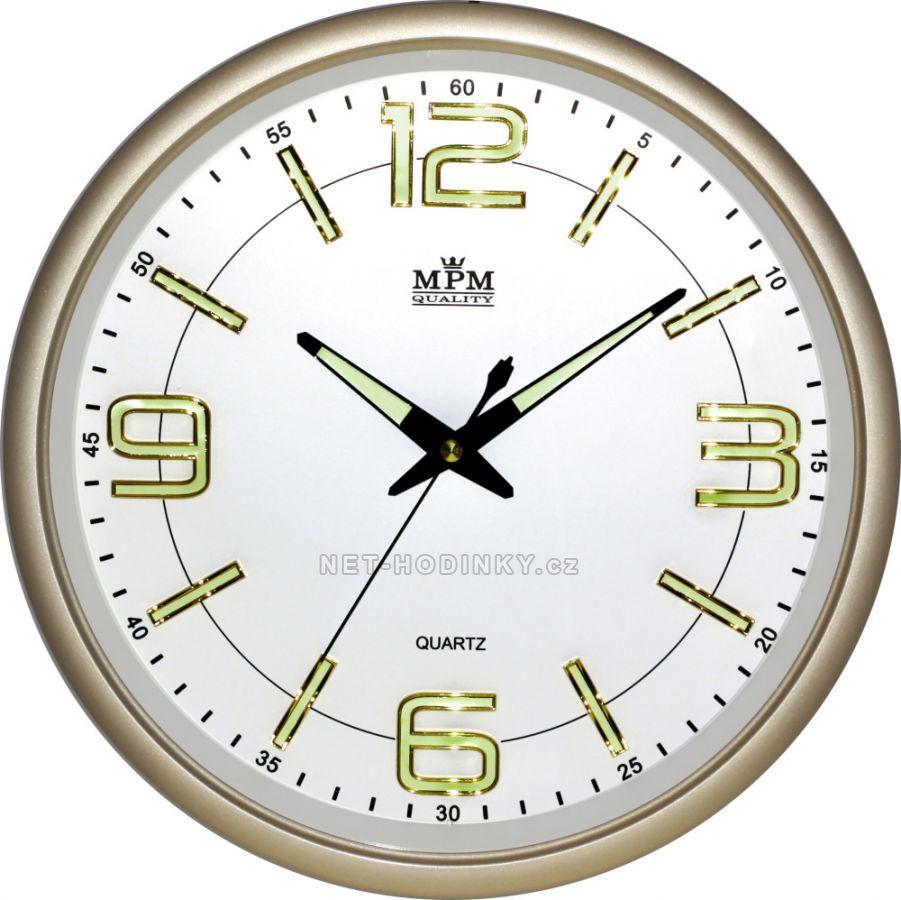 Nástěnné hodiny na stěnu, hodiny na zeď do kuchyně velké kulaté zlatá