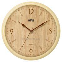 Nástěnné hodiny plastové kulaté E01.2973.5 imitace dřeva