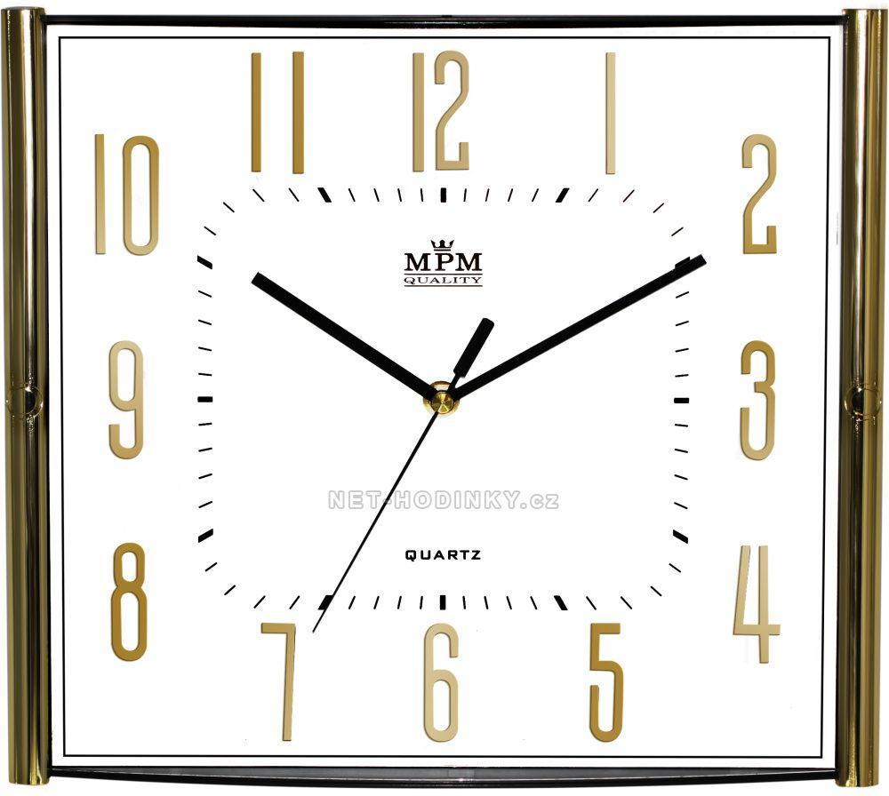 Nástěnné hodiny na stěnu, hodiny na zeď do kuchyně velké hranaté bílá