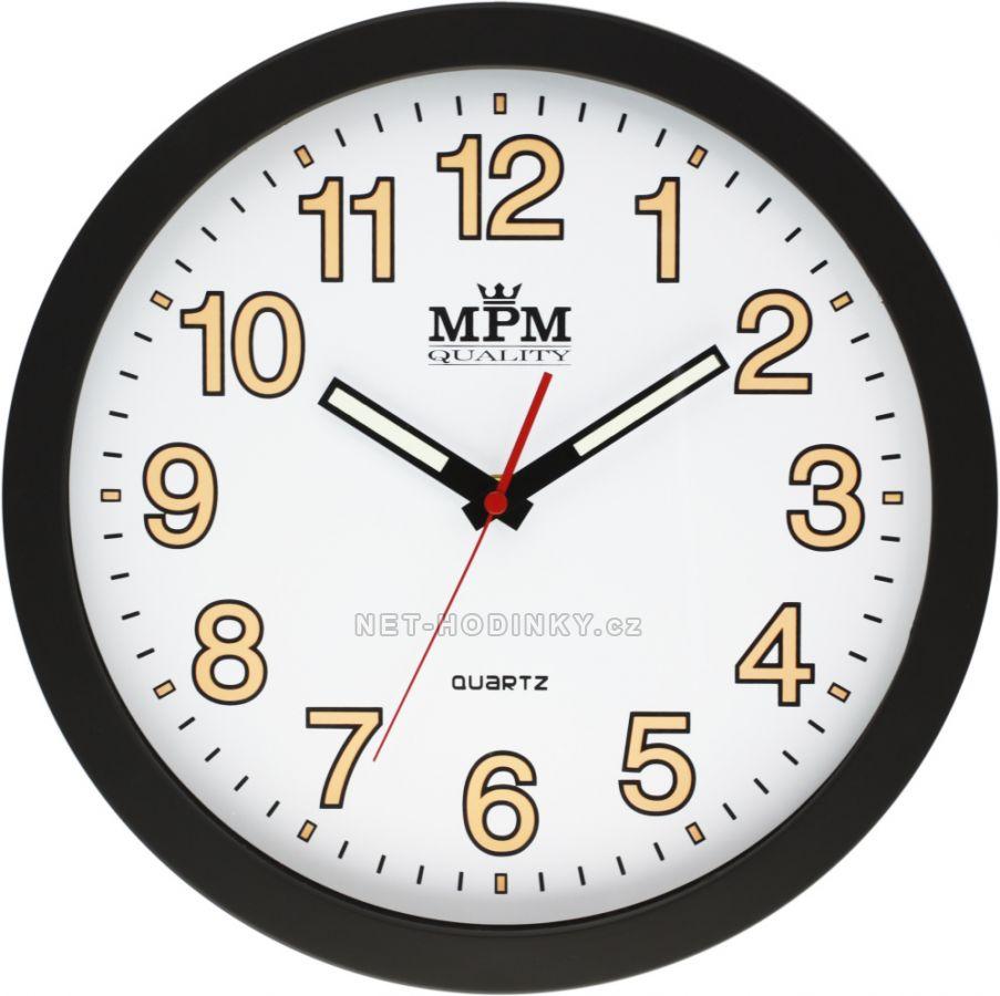 Nástěnné hodiny na zeď, hodiny do kuchyně velké, Luminiscenční ručičky a čísla - svítí ve tmě. bílá/oranž.