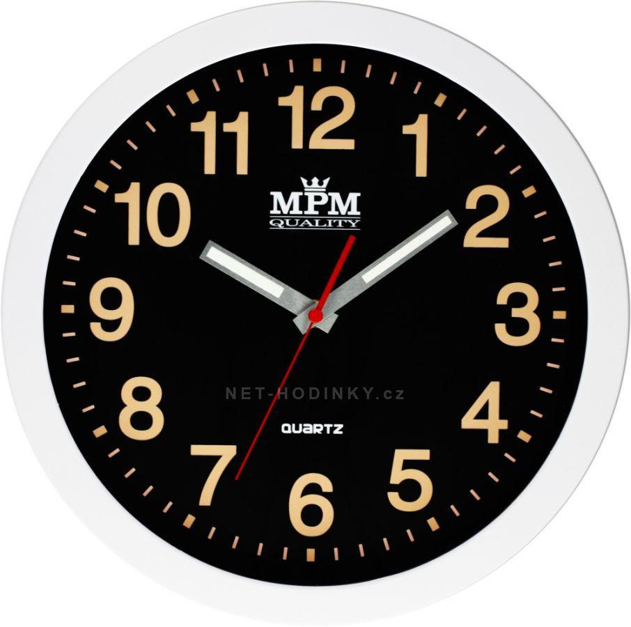 Nástěnné hodiny na zeď, hodiny do kuchyně velké, Luminiscenční ručičky a čísla - svítí ve tmě. černá