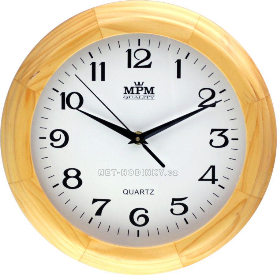 Nástěnné hodiny na zeď, hodiny do kuchyně kulaté světlé dřevo
