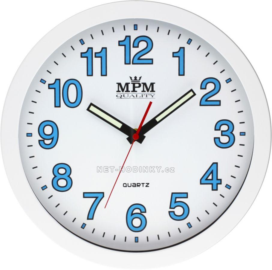 Nástěnné hodiny na zeď, hodiny do kuchyně velké, Luminiscenční ručičky a čísla - svítí ve tmě. bílá/modrá