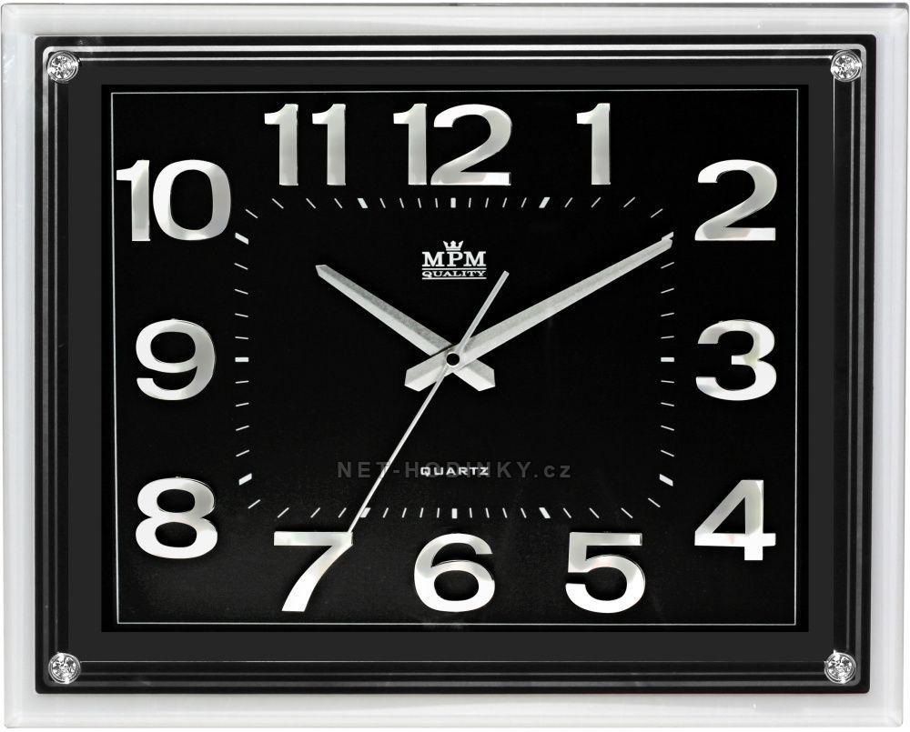 Nástěnné hodiny na zeď velké, hodiny do kuchyně stříbrná/černá