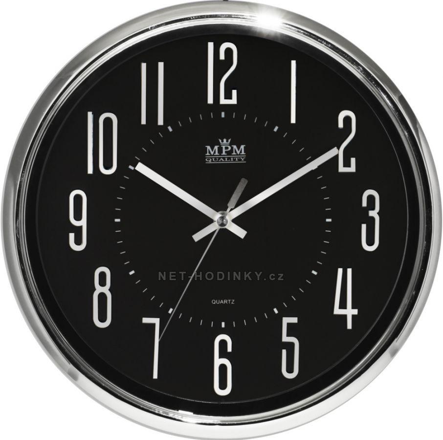 Nástěnné hodiny na zeď, hodiny do kuchyně velké stříbrná/černá