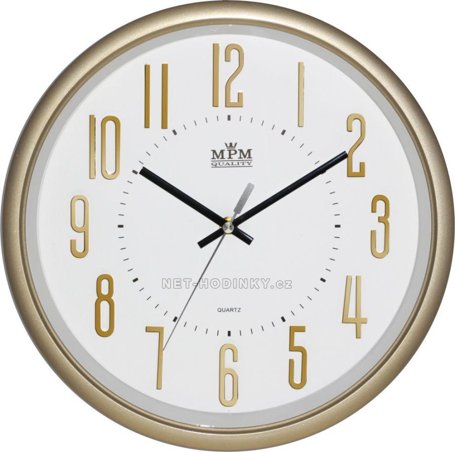 Nástěnné hodiny na zeď, hodiny do kuchyně velké zlatá/bílá