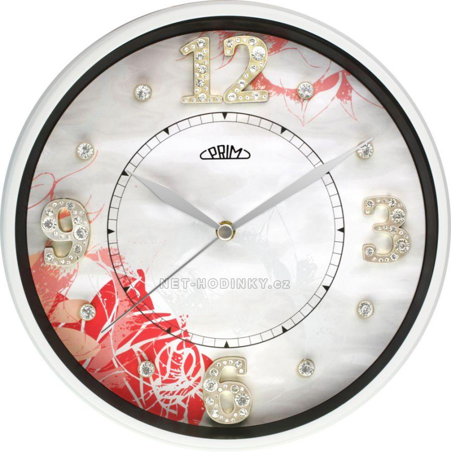 Nástěnné hodiny luxusní na zeď, hodiny na stěnu kovové bílá