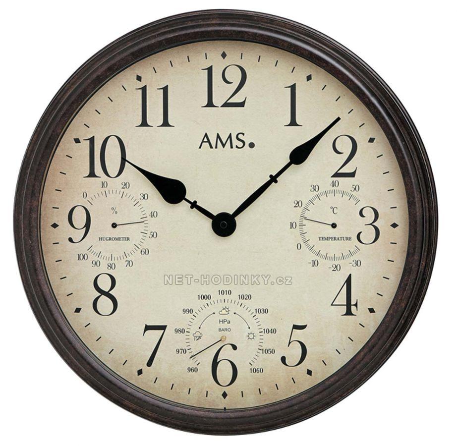 Retro nástěnné hodiny AMS 9463 velké kulaté hodiny kovové