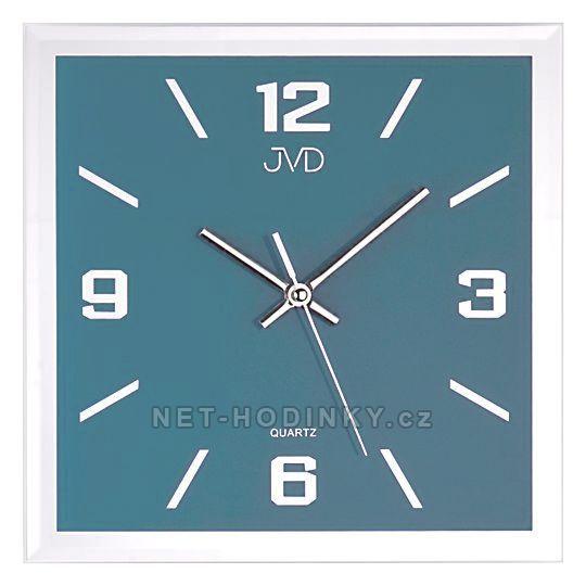 JVD Skleněné hodiny na zeď čtvercové šampaň N26113.7.3