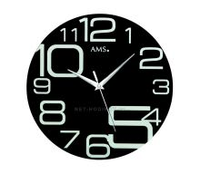 Skleněné nástěnné hodiny kulaté AMS 9461 černá, ams 9462 červená