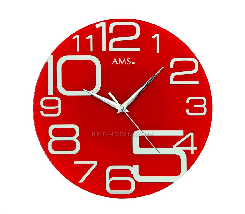 AMS Nástěnné hodiny na stěnu skleněné, nástěnné hodiny na zeď velké AMS 9462 červené