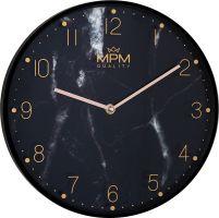 Nástěnné originální hodiny MPM Black Marble v provedení černém. Zlaté indexy s logem jsou natištěny na skle hodin. Ručičky jsou v moderní odstínu gold rose. Hodiny do každého moderní