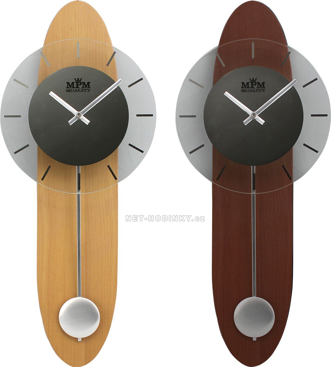 Nástěnné hodiny na stěnu, nástěnné hodiny na zeď, pendlovky, kyvadlové hodiny světlé dřevo
