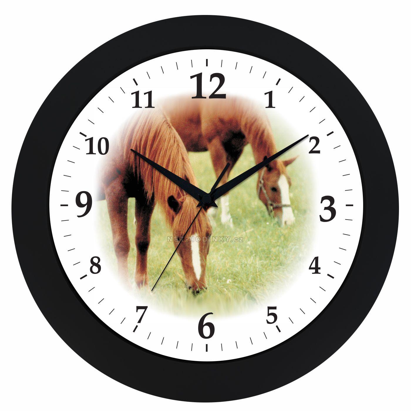 VIN Nástěnné hodiny na stěnu, nástěnné hodiny na zeď koně HJ04035 černá