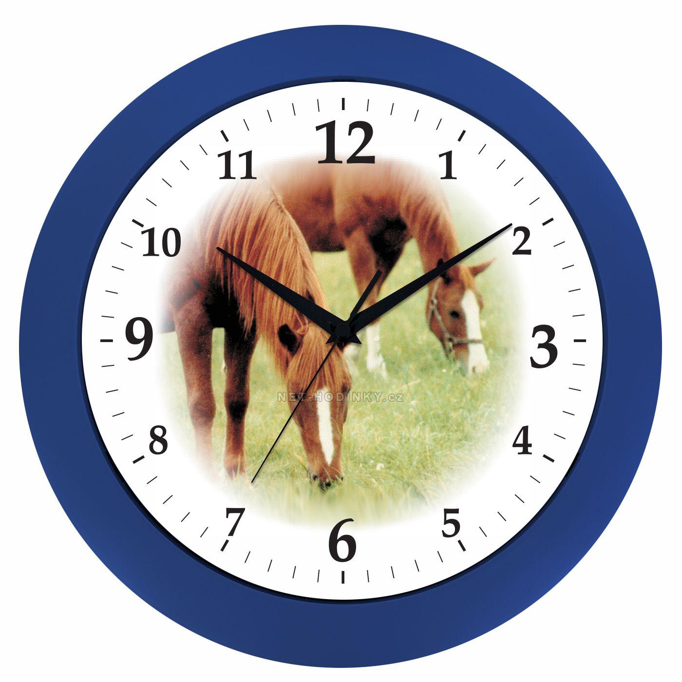VIN Nástěnné hodiny na stěnu, nástěnné hodiny na zeď koně HJ04035 modrá